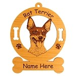 3806 Rat Terrier Head #2 Ornament Personalized with Your Dog's Name